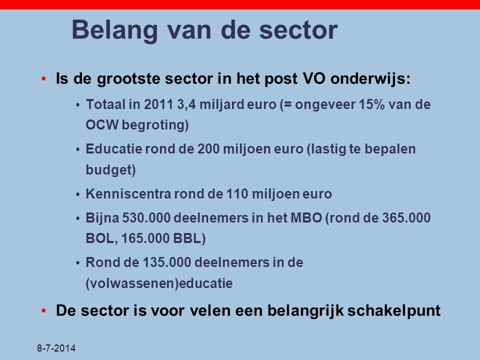 Belang van de sector Is de grootste sector in het post VO onderwijs: Totaal in 2011 3,4 miljard euro (= ongeveer 15% van de OCW begroting) Educatie ro