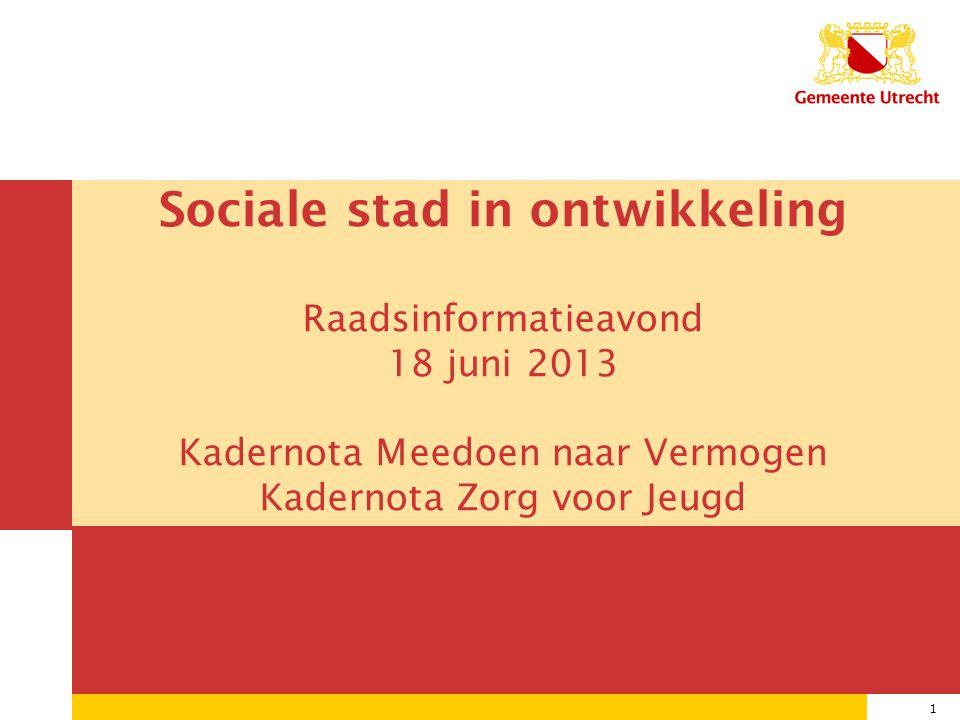1 08/07/2014 1 Sociale stad in ontwikkeling Raadsinformatieavond 18 juni 2013 Kadernota Meedoen naar Vermogen Kadernota Zorg voor Jeugd
