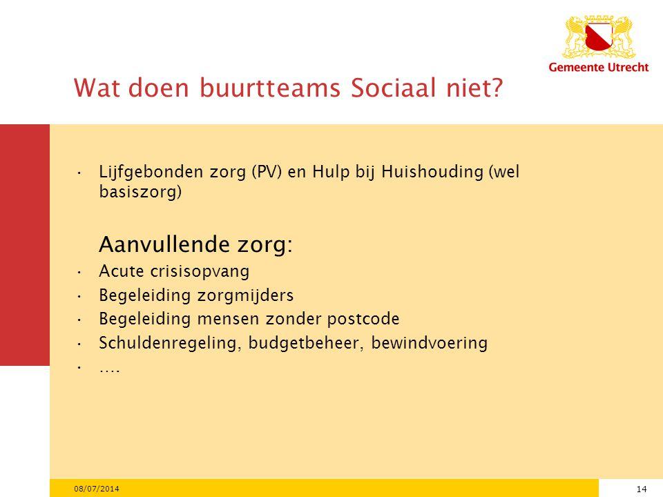 14 Wat doen buurtteams Sociaal niet.
