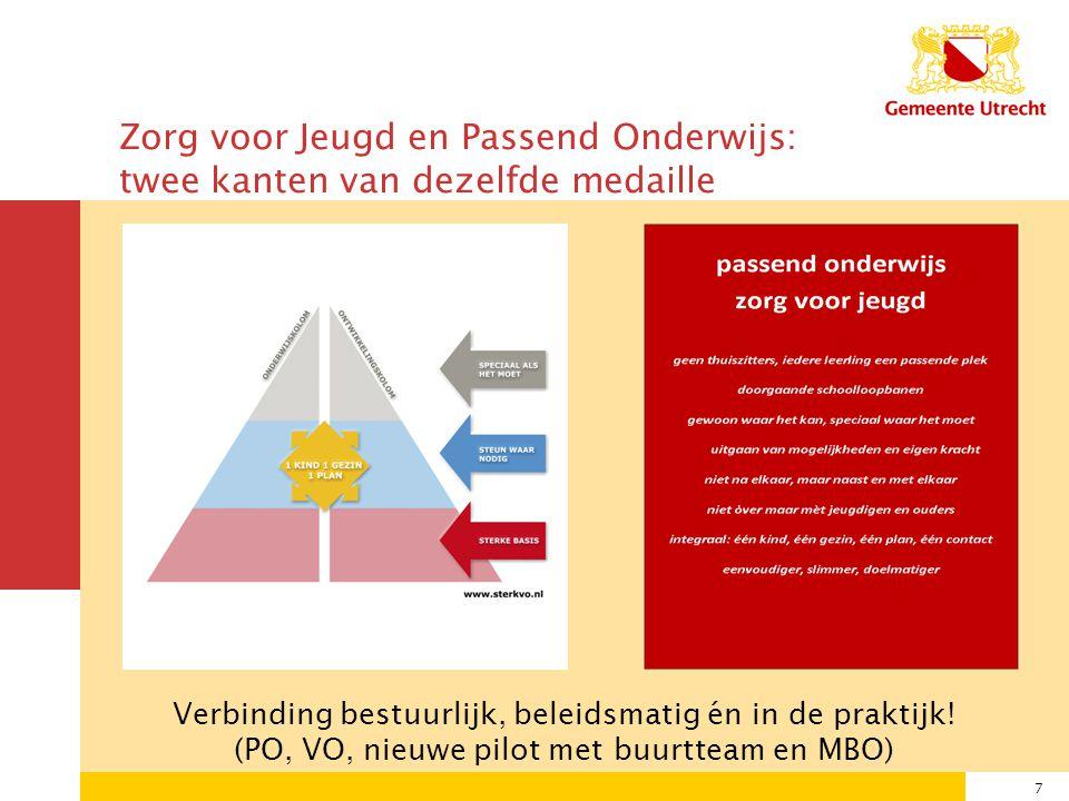 7 Zorg voor Jeugd en Passend Onderwijs: twee kanten van dezelfde medaille Verbinding bestuurlijk, beleidsmatig én in de praktijk.