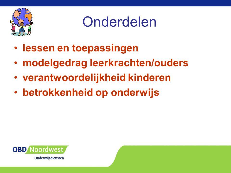 Onderdelen lessen en toepassingen modelgedrag leerkrachten/ouders verantwoordelijkheid kinderen betrokkenheid op onderwijs