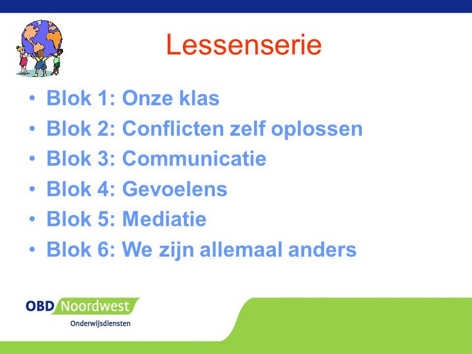 Lessenserie Blok 1: Onze klas Blok 2: Conflicten zelf oplossen Blok 3: Communicatie Blok 4: Gevoelens Blok 5: Mediatie Blok 6: We zijn allemaal anders