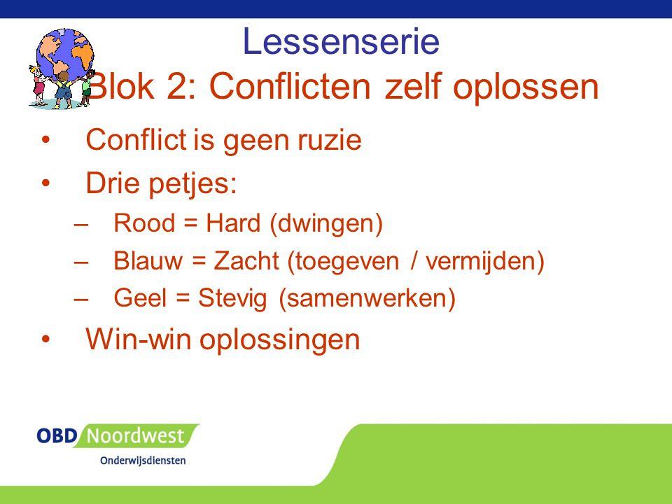 Lessenserie Blok 2: Conflicten zelf oplossen Conflict is geen ruzie Drie petjes: –Rood = Hard (dwingen) –Blauw = Zacht (toegeven / vermijden) –Geel =