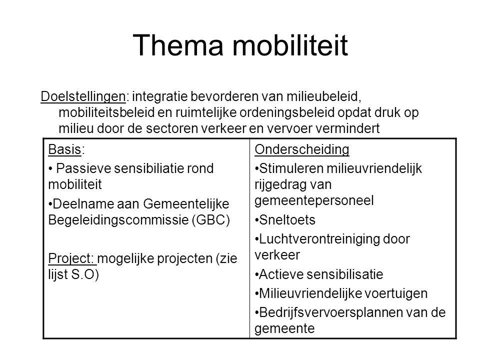 Thema mobiliteit Doelstellingen: integratie bevorderen van milieubeleid, mobiliteitsbeleid en ruimtelijke ordeningsbeleid opdat druk op milieu door de