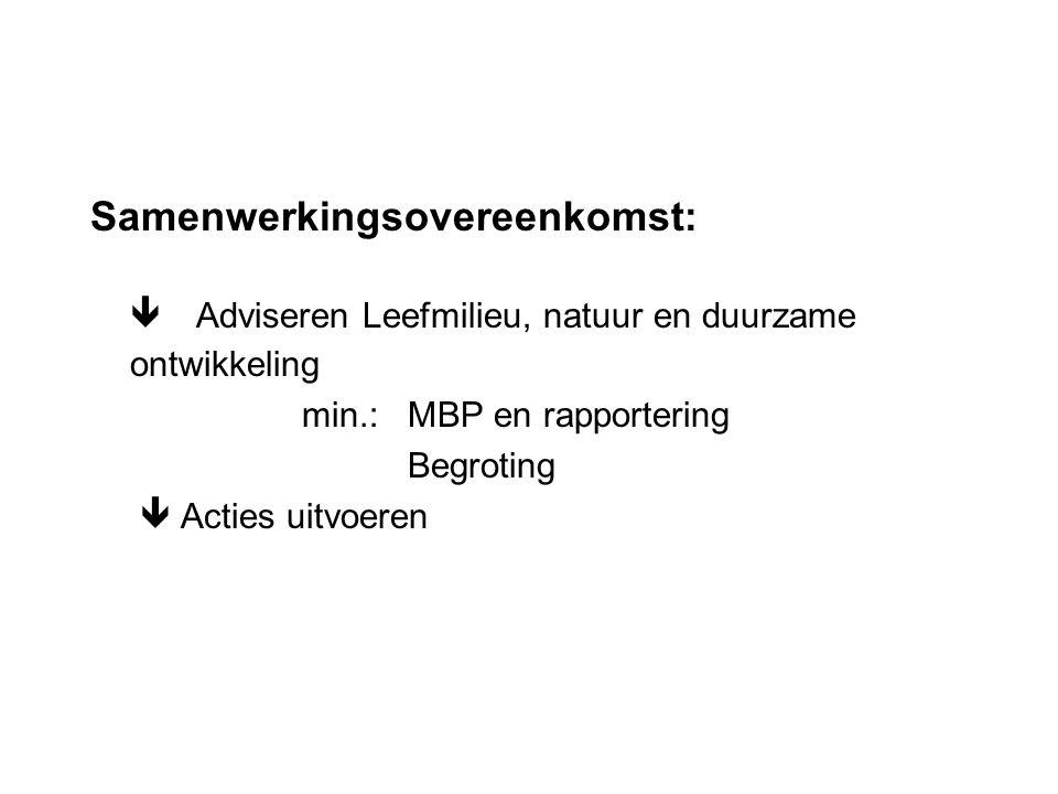 Samenwerkingsovereenkomst:  Adviseren Leefmilieu, natuur en duurzame ontwikkeling min.:MBP en rapportering Begroting  Acties uitvoeren