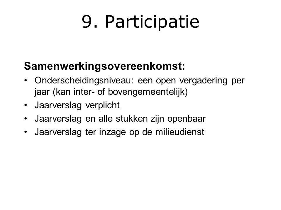 Samenwerkingsovereenkomst: Onderscheidingsniveau: een open vergadering per jaar (kan inter- of bovengemeentelijk) Jaarverslag verplicht Jaarverslag en alle stukken zijn openbaar Jaarverslag ter inzage op de milieudienst 9.