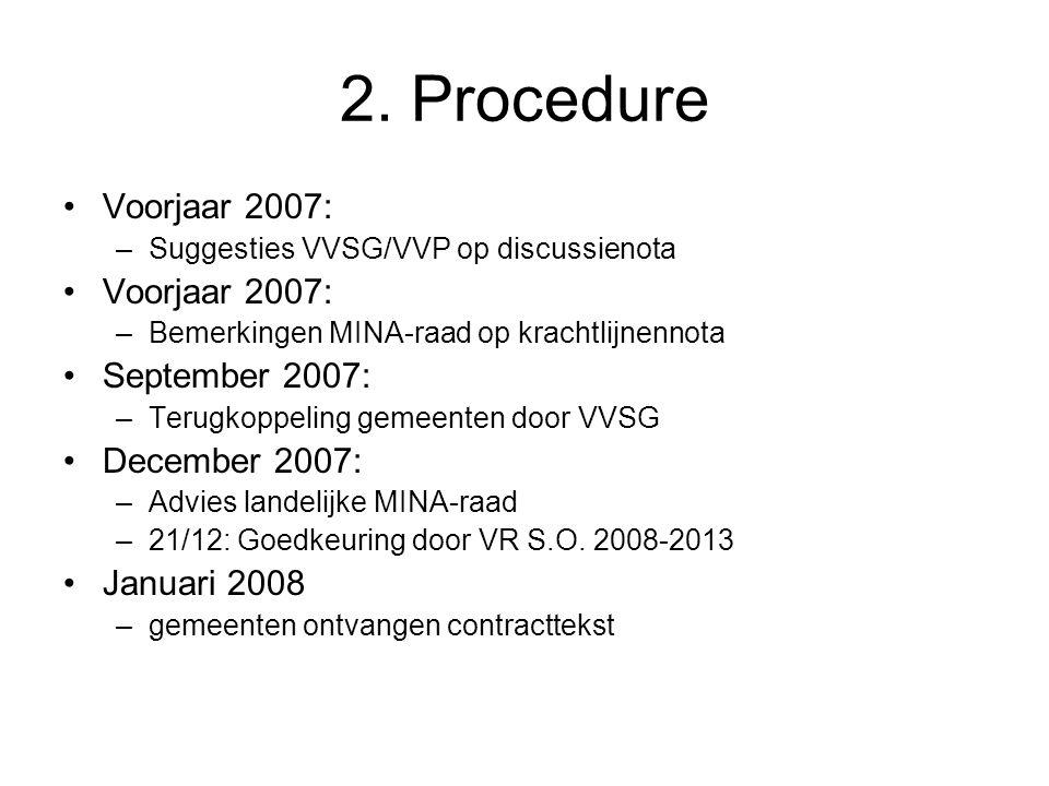 2. Procedure Voorjaar 2007: –Suggesties VVSG/VVP op discussienota Voorjaar 2007: –Bemerkingen MINA-raad op krachtlijnennota September 2007: –Terugkopp