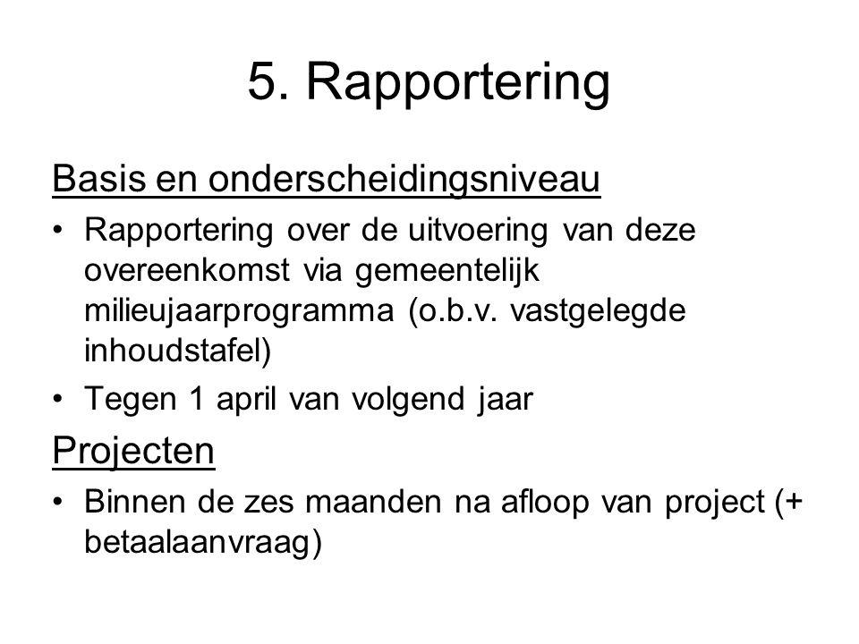 5. Rapportering Basis en onderscheidingsniveau Rapportering over de uitvoering van deze overeenkomst via gemeentelijk milieujaarprogramma (o.b.v. vast