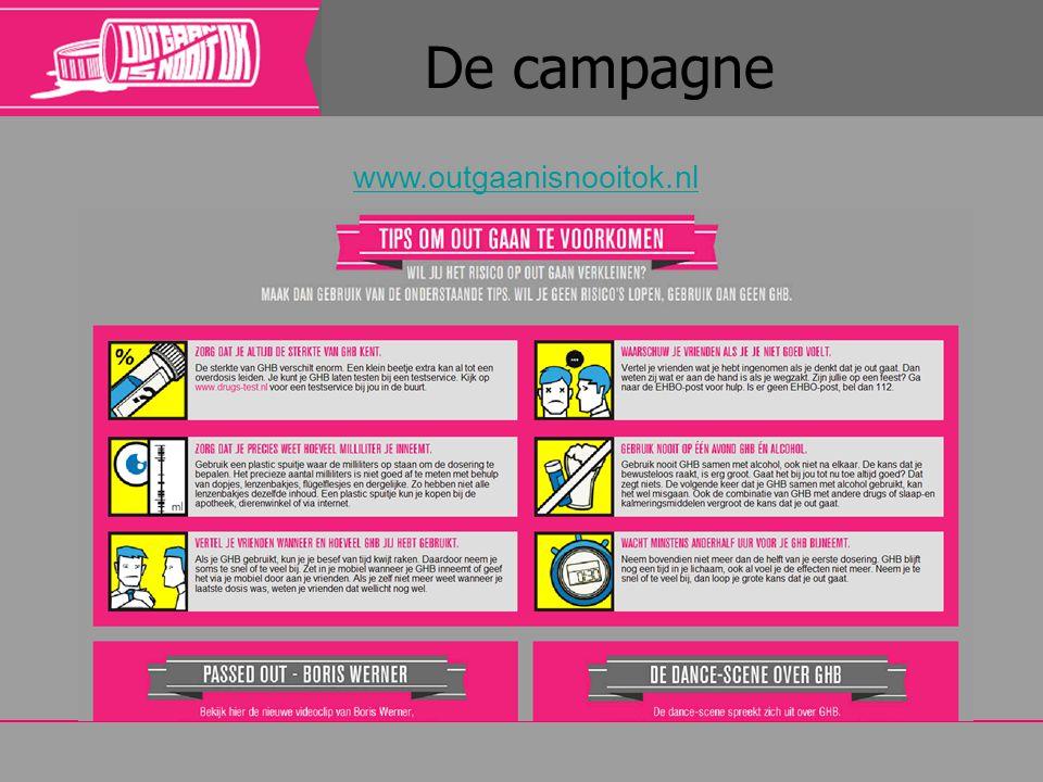 De campagne www.outgaanisnooitok.nl