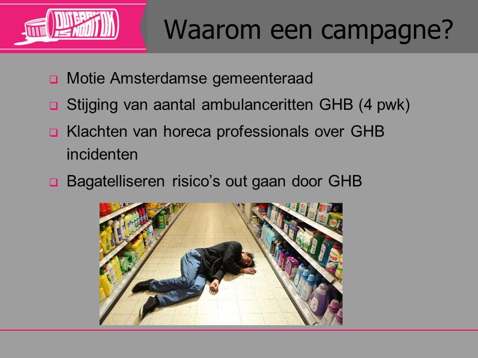  Motie Amsterdamse gemeenteraad  Stijging van aantal ambulanceritten GHB (4 pwk)  Klachten van horeca professionals over GHB incidenten  Bagatelli