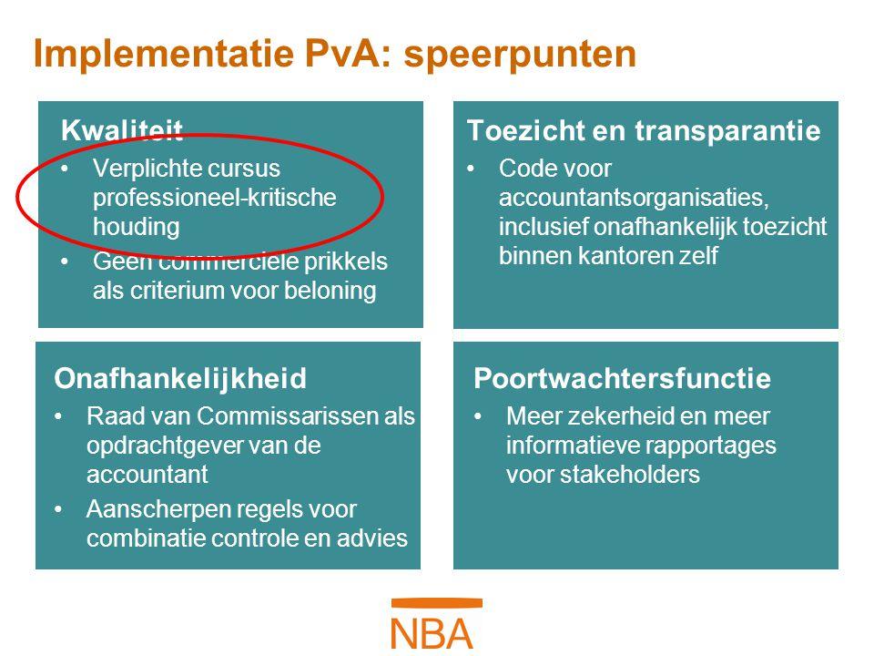 Implementatie PvA: speerpunten Kwaliteit Verplichte cursus professioneel-kritische houding Geen commerciële prikkels als criterium voor beloning Toezi