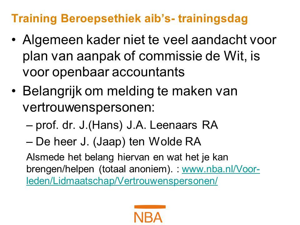 Training Beroepsethiek aib's- trainingsdag Algemeen kader niet te veel aandacht voor plan van aanpak of commissie de Wit, is voor openbaar accountants