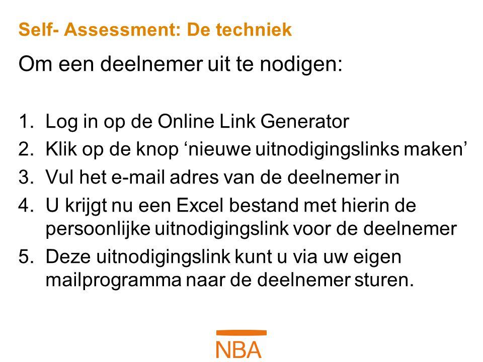 Self- Assessment: De techniek Om een deelnemer uit te nodigen: 1.Log in op de Online Link Generator 2.Klik op de knop 'nieuwe uitnodigingslinks maken'