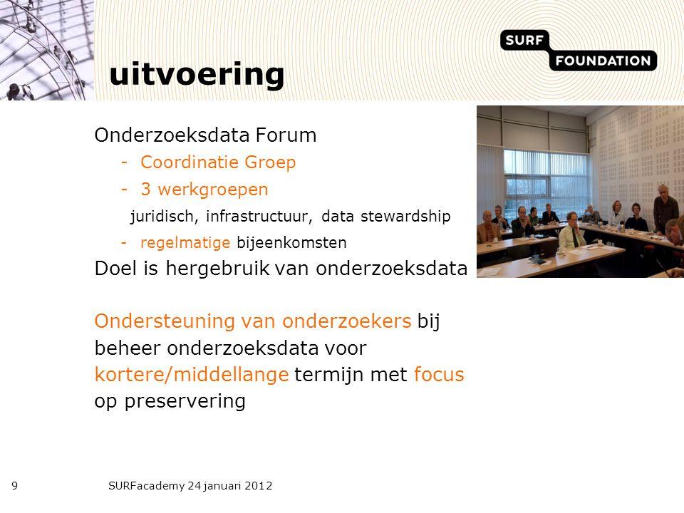 uitvoering Onderzoeksdata Forum -Coordinatie Groep -3 werkgroepen juridisch, infrastructuur, data stewardship -regelmatige bijeenkomsten Doel is herge