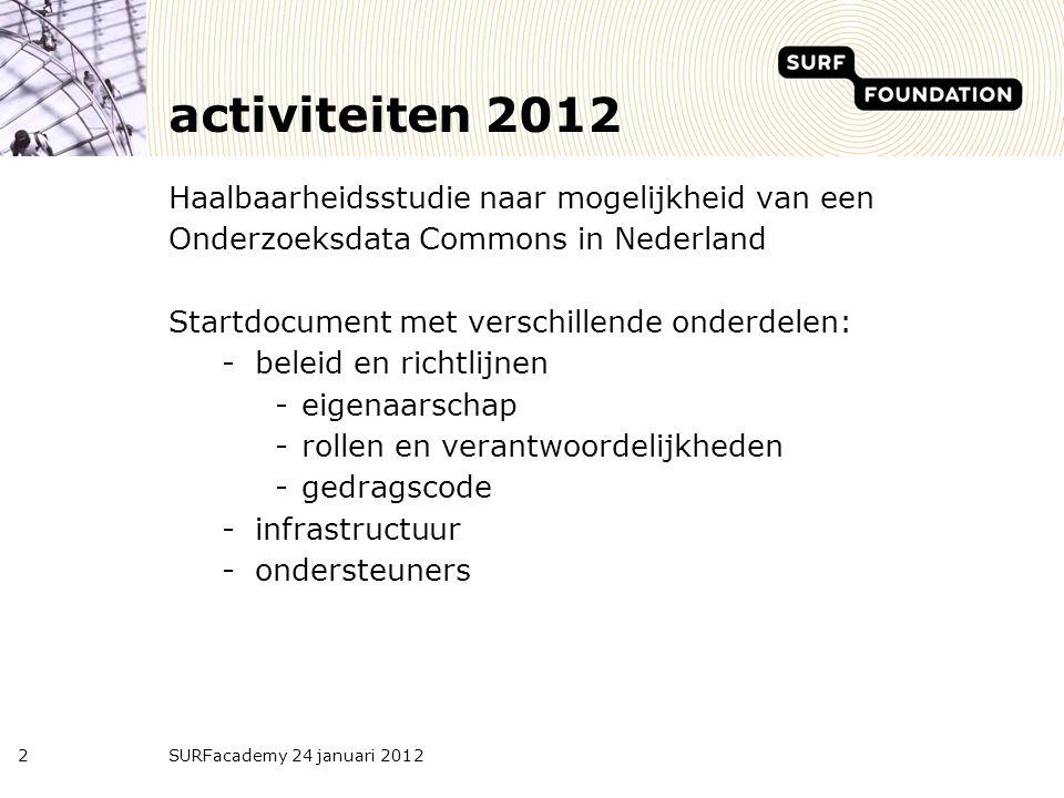 activiteiten 2012 Haalbaarheidsstudie naar mogelijkheid van een Onderzoeksdata Commons in Nederland Startdocument met verschillende onderdelen: -belei