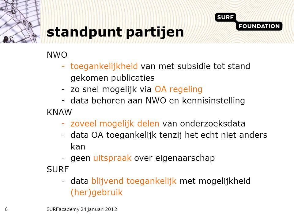 standpunt partijen NWO -toegankelijkheid van met subsidie tot stand gekomen publicaties -zo snel mogelijk via OA regeling -data behoren aan NWO en ken