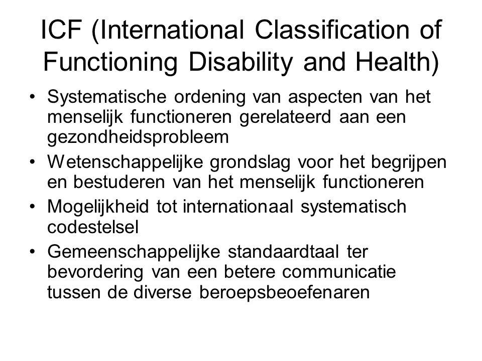 ICF (International Classification of Functioning Disability and Health) Systematische ordening van aspecten van het menselijk functioneren gerelateerd
