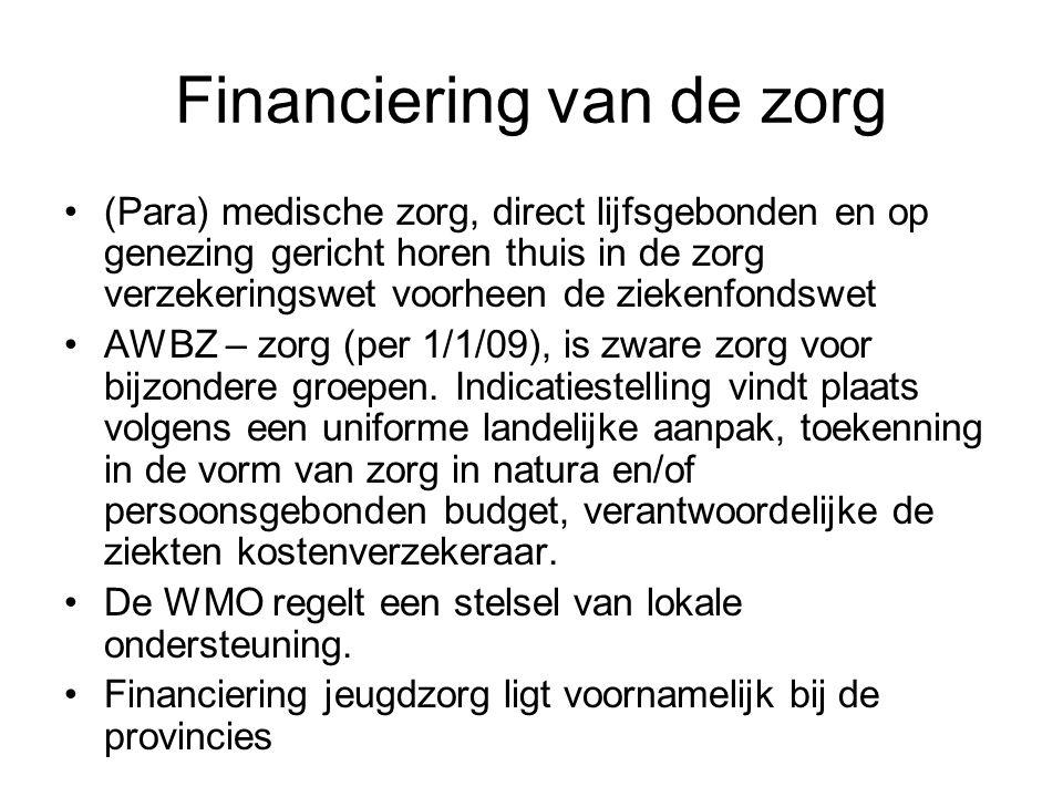 Financiering van de zorg (Para) medische zorg, direct lijfsgebonden en op genezing gericht horen thuis in de zorg verzekeringswet voorheen de ziekenfo