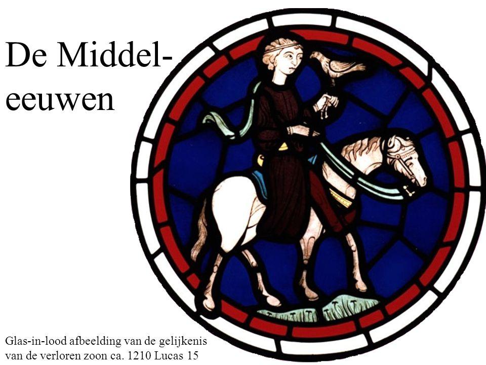 De Middel- eeuwen Glas-in-lood afbeelding van de gelijkenis van de verloren zoon ca. 1210 Lucas 15