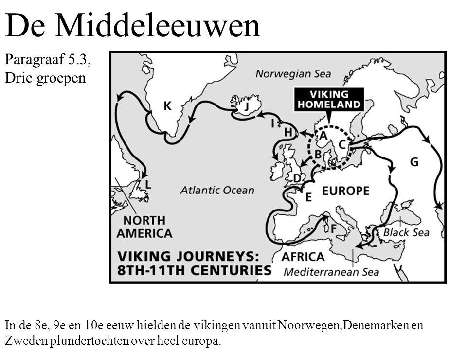 Paragraaf 5.3, Drie groepen In de 8e, 9e en 10e eeuw hielden de vikingen vanuit Noorwegen,Denemarken en Zweden plundertochten over heel europa.