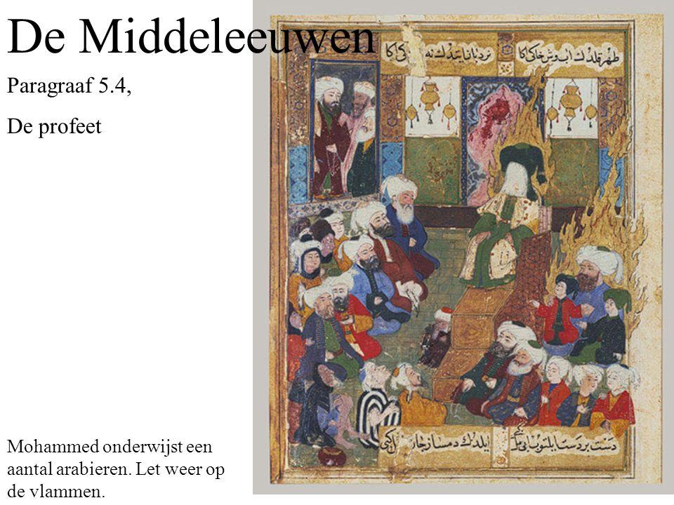 De Middeleeuwen Paragraaf 5.4, De profeet Mohammed onderwijst een aantal arabieren.