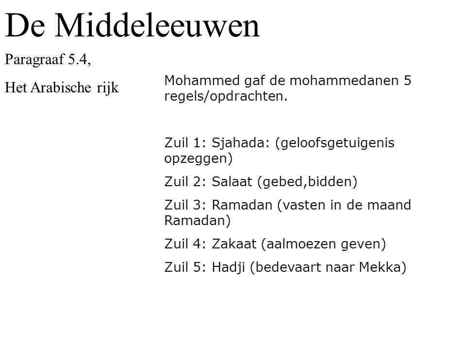 Mohammed gaf de mohammedanen 5 regels/opdrachten.