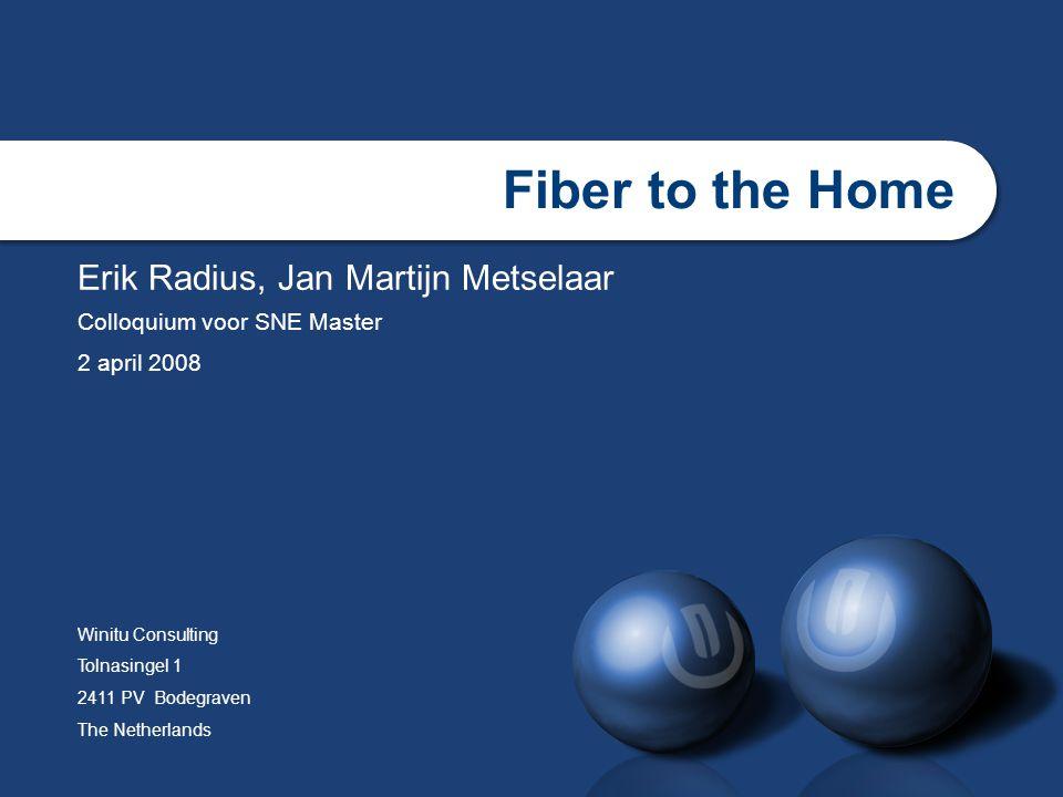 slide22 Bidirectionele data transmissie Single fiber bidirectioneel voor data Verschillende golflengten licht voor up/down 1500nm downlink 1310nm uplink Reden.