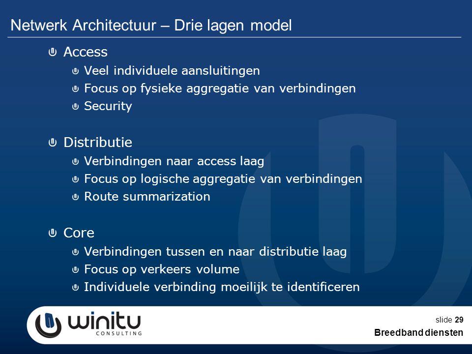 slide29 Netwerk Architectuur – Drie lagen model Access Veel individuele aansluitingen Focus op fysieke aggregatie van verbindingen Security Distributi