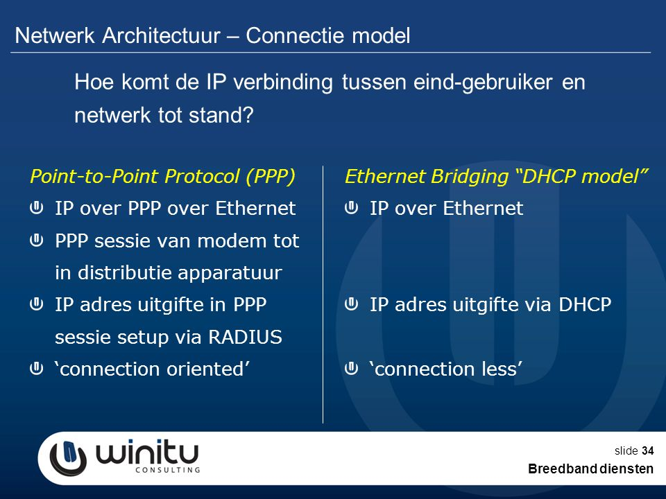slide34 Netwerk Architectuur – Connectie model Point-to-Point Protocol (PPP) IP over PPP over Ethernet PPP sessie van modem tot in distributie apparatuur IP adres uitgifte in PPP sessie setup via RADIUS 'connection oriented' Ethernet Bridging DHCP model IP over Ethernet IP adres uitgifte via DHCP 'connection less' Hoe komt de IP verbinding tussen eind-gebruiker en netwerk tot stand.