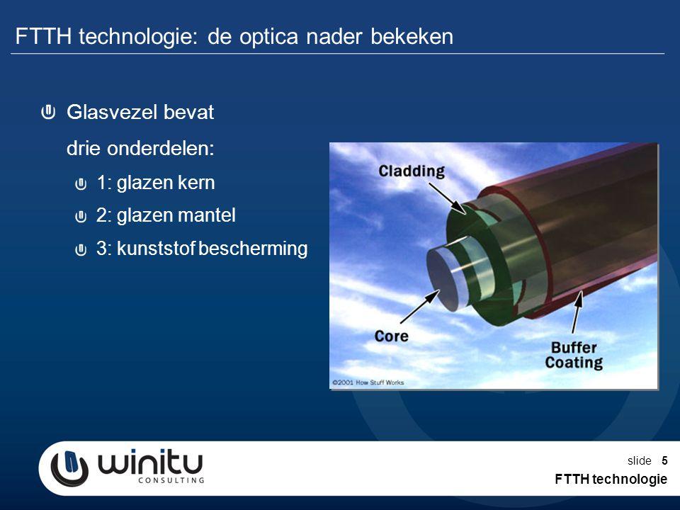 slide5 FTTH technologie: de optica nader bekeken FTTH technologie Glasvezel bevat drie onderdelen: 1: glazen kern 2: glazen mantel 3: kunststof besche