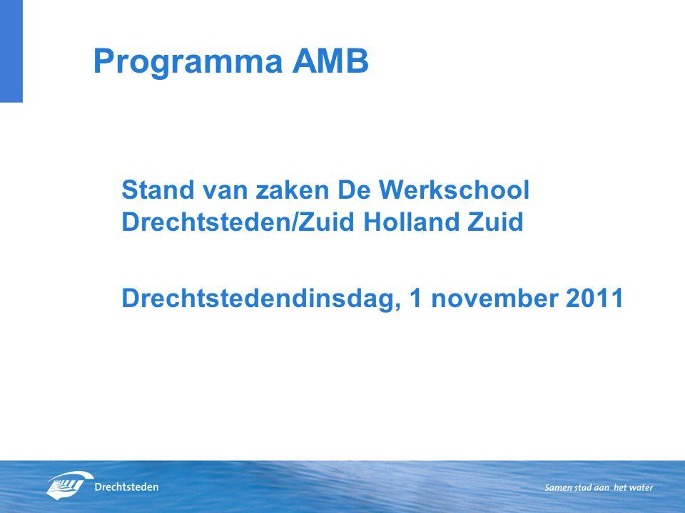 Programma AMB Stand van zaken De Werkschool Drechtsteden/Zuid Holland Zuid Drechtstedendinsdag, 1 november 2011