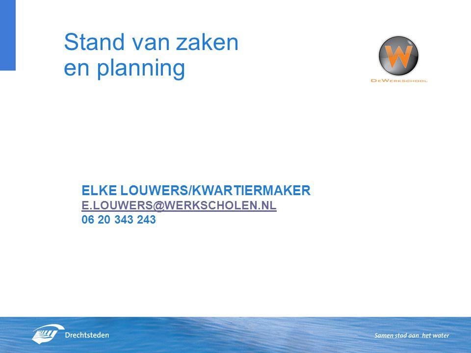 Stand van zaken en planning ELKE LOUWERS/KWARTIERMAKER E.LOUWERS@WERKSCHOLEN.NL 06 20 343 243 E.LOUWERS@WERKSCHOLEN.NL