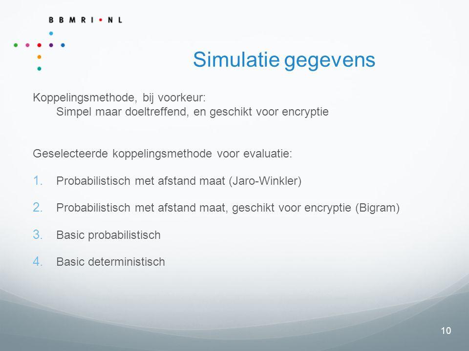 10 Simulatie gegevens Koppelingsmethode, bij voorkeur: Simpel maar doeltreffend, en geschikt voor encryptie Geselecteerde koppelingsmethode voor evaluatie:  Probabilistisch met afstand maat (Jaro-Winkler)  Probabilistisch met afstand maat, geschikt voor encryptie (Bigram)  Basic probabilistisch  Basic deterministisch
