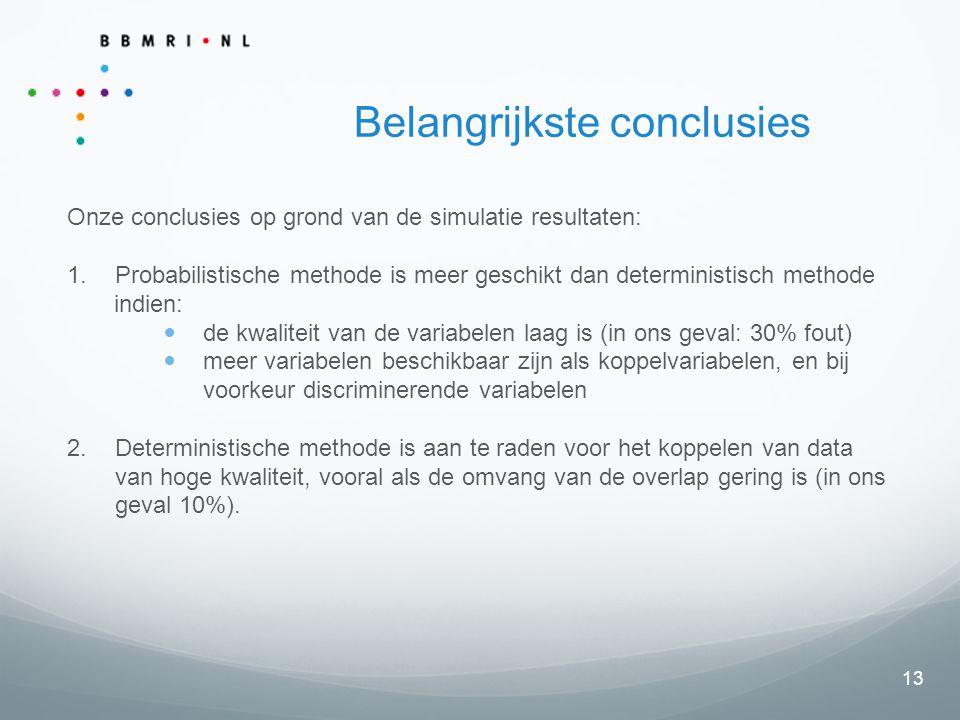 13 Belangrijkste conclusies Onze conclusies op grond van de simulatie resultaten: 1.Probabilistische methode is meer geschikt dan deterministisch methode indien: de kwaliteit van de variabelen laag is (in ons geval: 30% fout) meer variabelen beschikbaar zijn als koppelvariabelen, en bij voorkeur discriminerende variabelen 2.Deterministische methode is aan te raden voor het koppelen van data van hoge kwaliteit, vooral als de omvang van de overlap gering is (in ons geval 10%).
