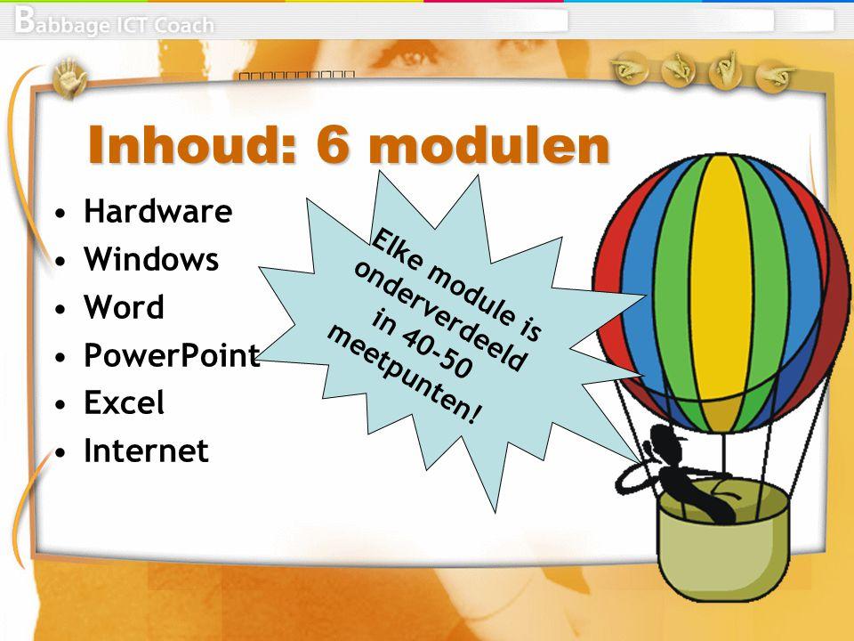 Inhoud: 6 modulen Hardware Windows Word PowerPoint Excel Internet Elke module is onderverdeeld in 40-50 meetpunten!