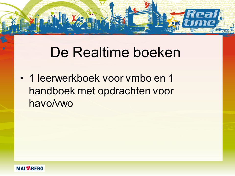De Realtime boeken 1 leerwerkboek voor vmbo en 1 handboek met opdrachten voor havo/vwo
