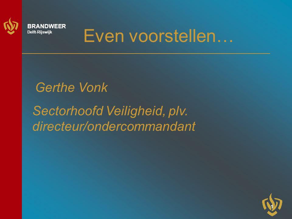 1 BRANDWEER Delft-Rijswijk Even voorstellen… Gerthe Vonk Sectorhoofd Veiligheid, plv.