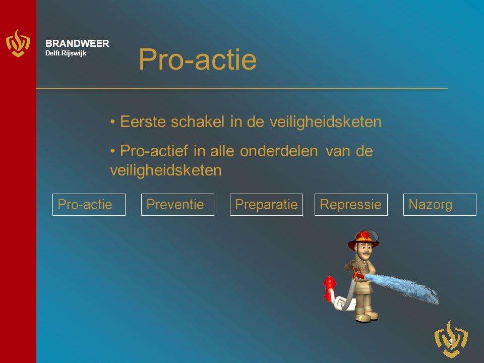 3 BRANDWEER Delft-Rijswijk Pro-actie Eerste schakel in de veiligheidsketen Pro-actief in alle onderdelen van de veiligheidsketen Pro-actiePreventiePreparatieRepressieNazorg