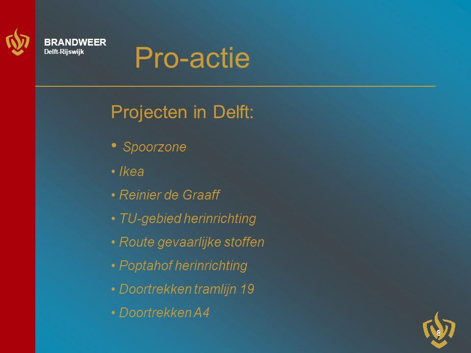 8 BRANDWEER Delft-Rijswijk Pro-actie Projecten in Delft: Spoorzone Ikea Reinier de Graaff TU-gebied herinrichting Route gevaarlijke stoffen Poptahof herinrichting Doortrekken tramlijn 19 Doortrekken A4