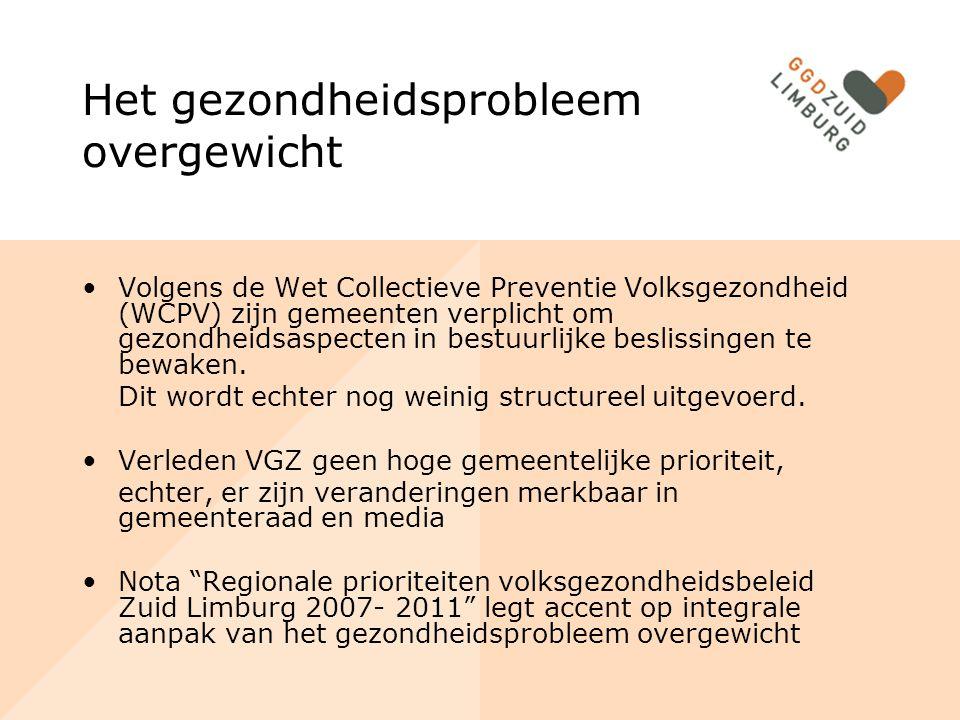 Het gezondheidsprobleem overgewicht Volgens de Wet Collectieve Preventie Volksgezondheid (WCPV) zijn gemeenten verplicht om gezondheidsaspecten in bestuurlijke beslissingen te bewaken.