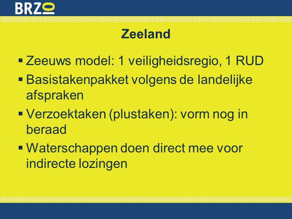 Zeeland  Zeeuws model: 1 veiligheidsregio, 1 RUD  Basistakenpakket volgens de landelijke afspraken  Verzoektaken (plustaken): vorm nog in beraad 