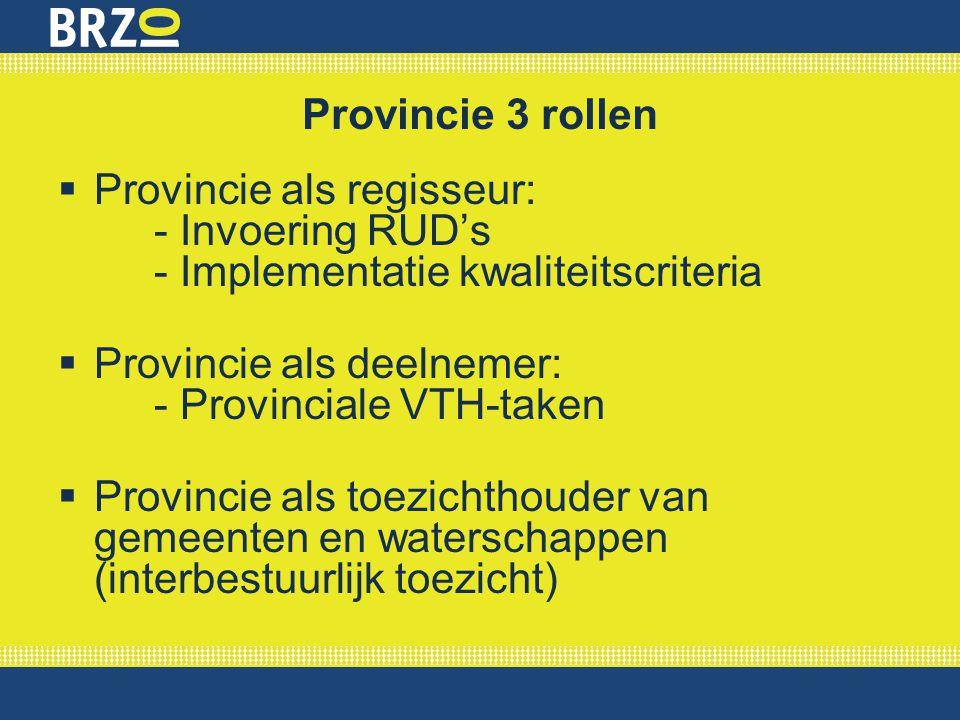 Provincie 3 rollen  Provincie als regisseur: - Invoering RUD's - Implementatie kwaliteitscriteria  Provincie als deelnemer: - Provinciale VTH-taken