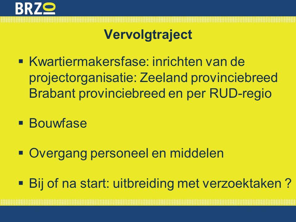 Vervolgtraject  Kwartiermakersfase: inrichten van de projectorganisatie: Zeeland provinciebreed Brabant provinciebreed en per RUD-regio  Bouwfase 
