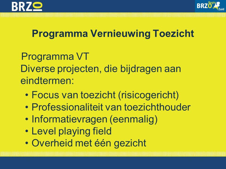 Programma VT Diverse projecten, die bijdragen aan eindtermen: Focus van toezicht (risicogericht) Professionaliteit van toezichthouder Informatievragen
