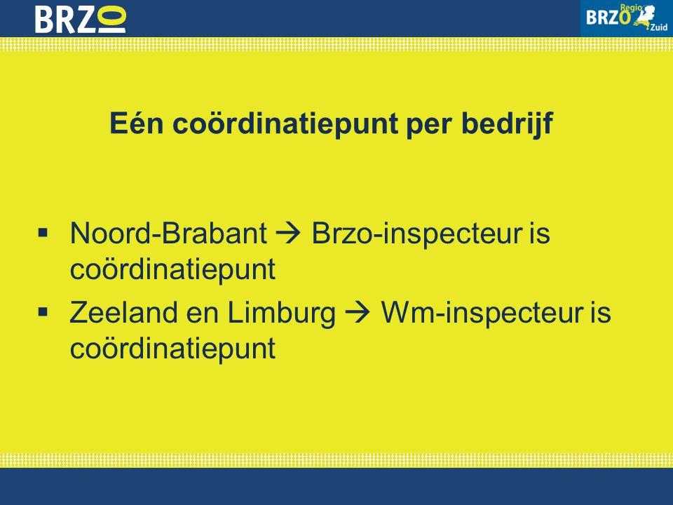 Eén coördinatiepunt per bedrijf  Noord-Brabant  Brzo-inspecteur is coördinatiepunt  Zeeland en Limburg  Wm-inspecteur is coördinatiepunt