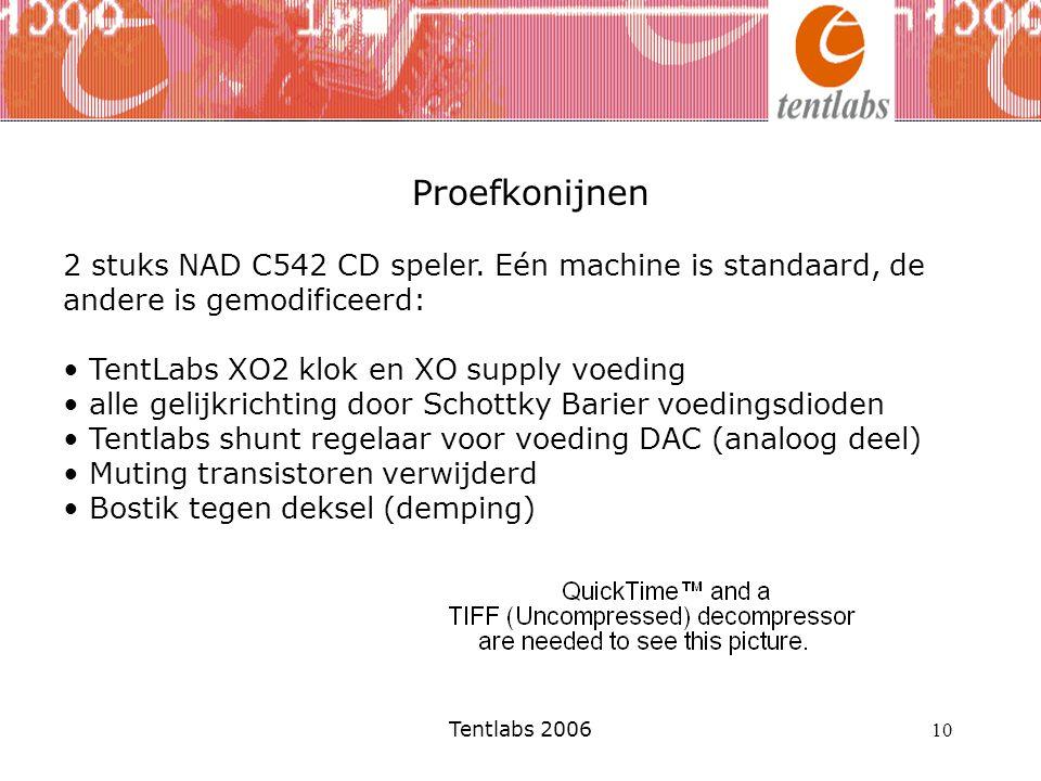 10 Proefkonijnen 2 stuks NAD C542 CD speler. Eén machine is standaard, de andere is gemodificeerd: TentLabs XO2 klok en XO supply voeding alle gelijkr