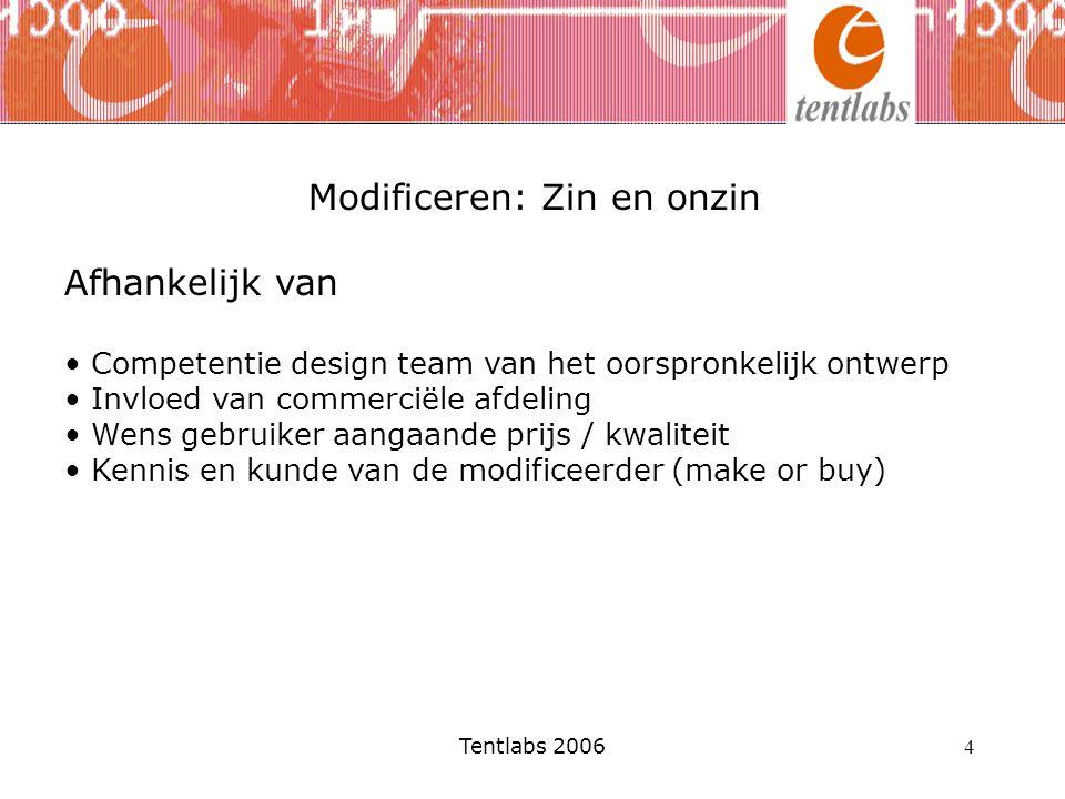 Tentlabs 2006 4 Modificeren: Zin en onzin Afhankelijk van Competentie design team van het oorspronkelijk ontwerp Invloed van commerciële afdeling Wens