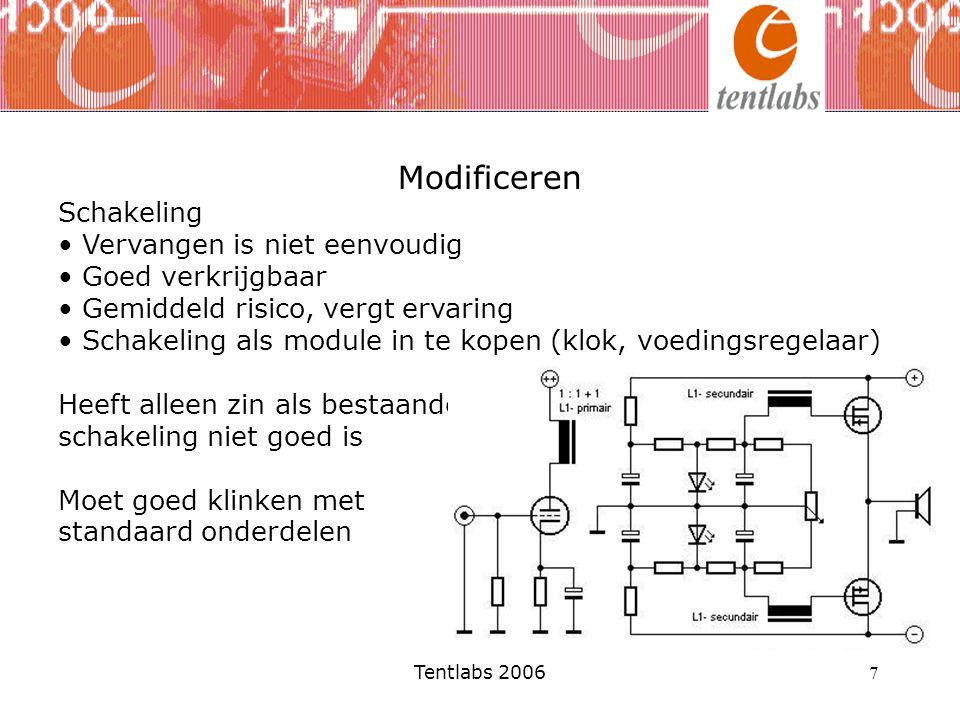 Tentlabs 2006 7 Modificeren Schakeling Vervangen is niet eenvoudig Goed verkrijgbaar Gemiddeld risico, vergt ervaring Schakeling als module in te kope