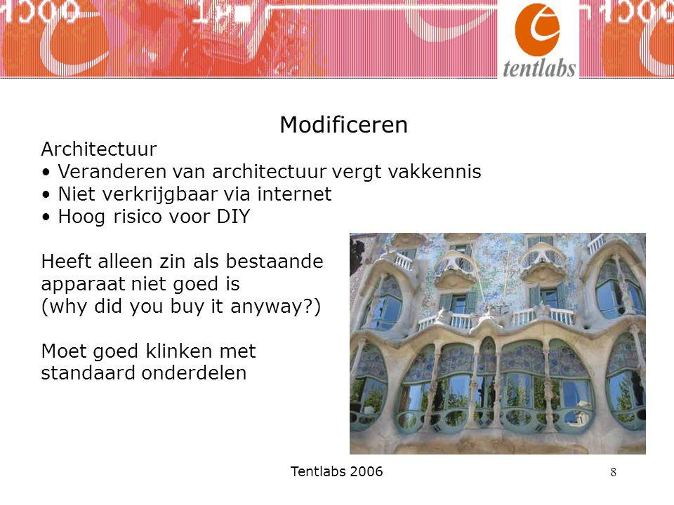 Tentlabs 2006 8 Modificeren Architectuur Veranderen van architectuur vergt vakkennis Niet verkrijgbaar via internet Hoog risico voor DIY Heeft alleen