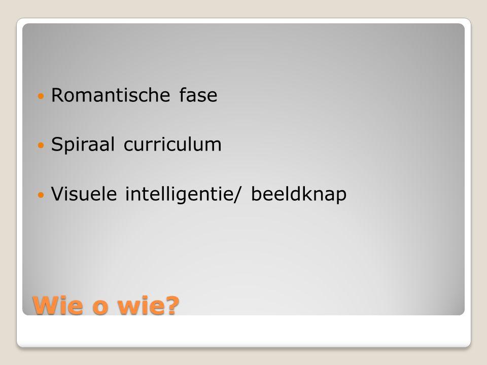 Wie o wie? Romantische fase Spiraal curriculum Visuele intelligentie/ beeldknap